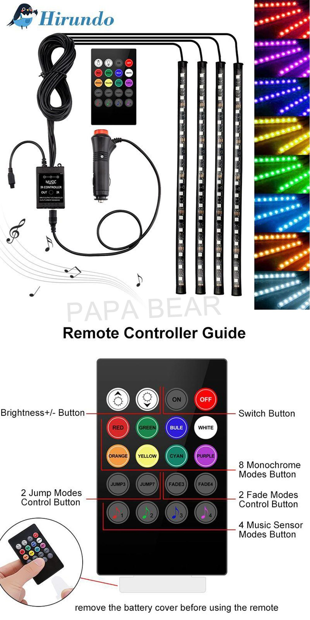 Hirundo Car Interior Lights with Sound Active Function and