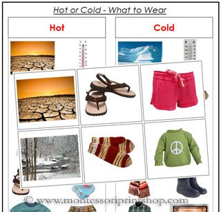 Hot or Cold, What to Wear? Preschool Montessori lesson
