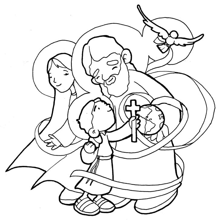 Holy Family  Trinity coloring page  Catholic Coloring Pages for