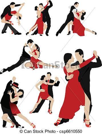 Vector  parejas bailando tango  stock de ilustracion