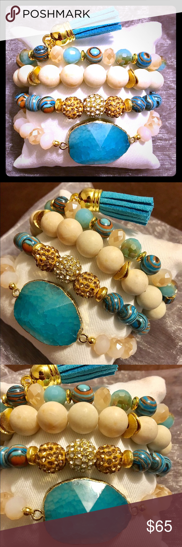 Turquoise Agate Stone Stacked Bracelet Set GORGEOUSLY handcrafted bracelet set that includes an turquoise colored agate center stone beaded bracelet, stacked with 2 accented beaded bracelets and a tassel bracelet finish .... complete with a display pillow perfect for gift giving  . This set also comes in a white organza bag for an optimal fancy finish. A MUST HAVE PIECE!! Jewelry Bracelets