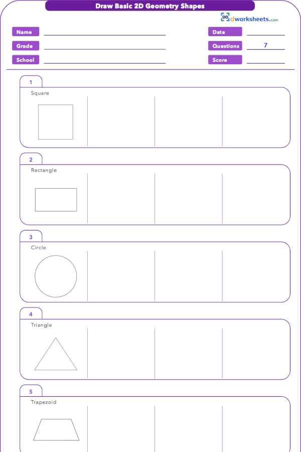 3 G A 1 Draw Basic 2d Geometrical Shapes Worksheet Basic Geometry Geometry Worksheets Free Math Worksheets