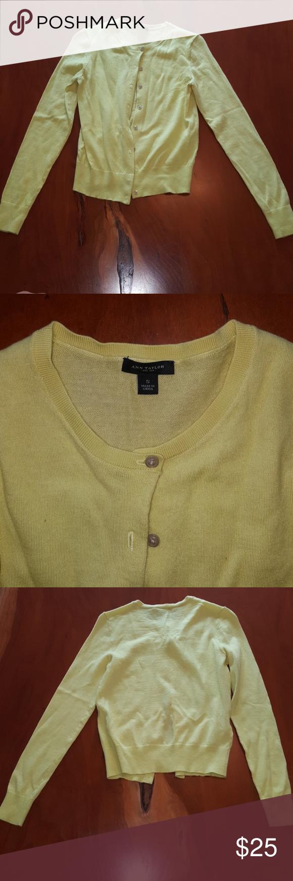 Ann Taylor Cardigan Yellow/lime green cardigan. 100% merino. Ann ...
