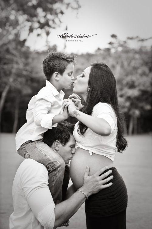 Fotos da gestação com participação do filho mais v