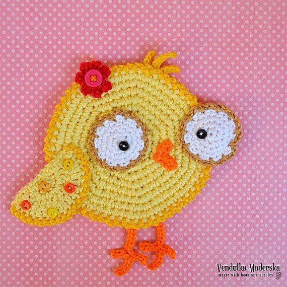 Crochet pattern - chicken coaster by VendulkaM, digital pattern DIY ...