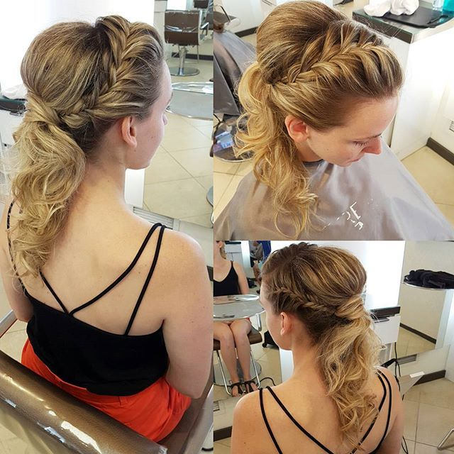 @mpapps30 attending a wedding. #hairbypinkyp #fauxponytail #updo #braid #braids #blonde #blondehair #instahair #weddinghair #