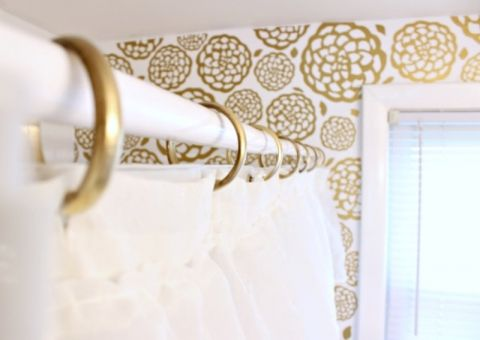 Gold Glam Bathroom Makeover Gold Shower Curtain Diy Bathroom