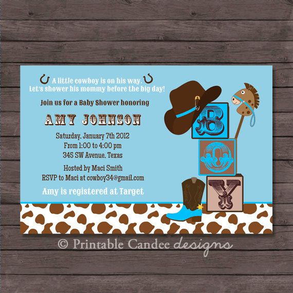 Western Cowboy Baby Shower Invitation 5x7 by eventfulcards 1599