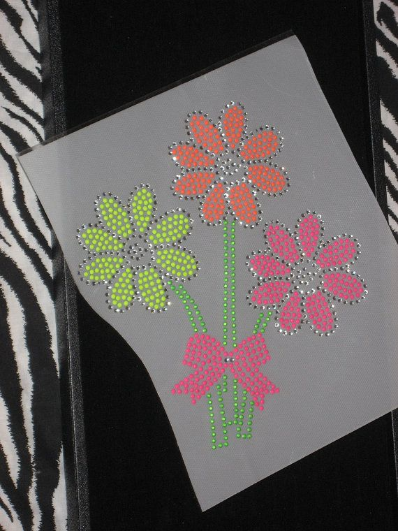 Rhinestone Transfer of Flowers Made With Neon Colors by cthorses66, $7.99