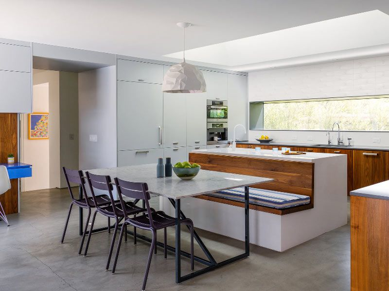 Great Contemporary Kitchen Design With Integrated Banquette Seating For Kitchen Kitchen Island Dining Table Kitchen Design Layout Island Kitchen Designs Layout