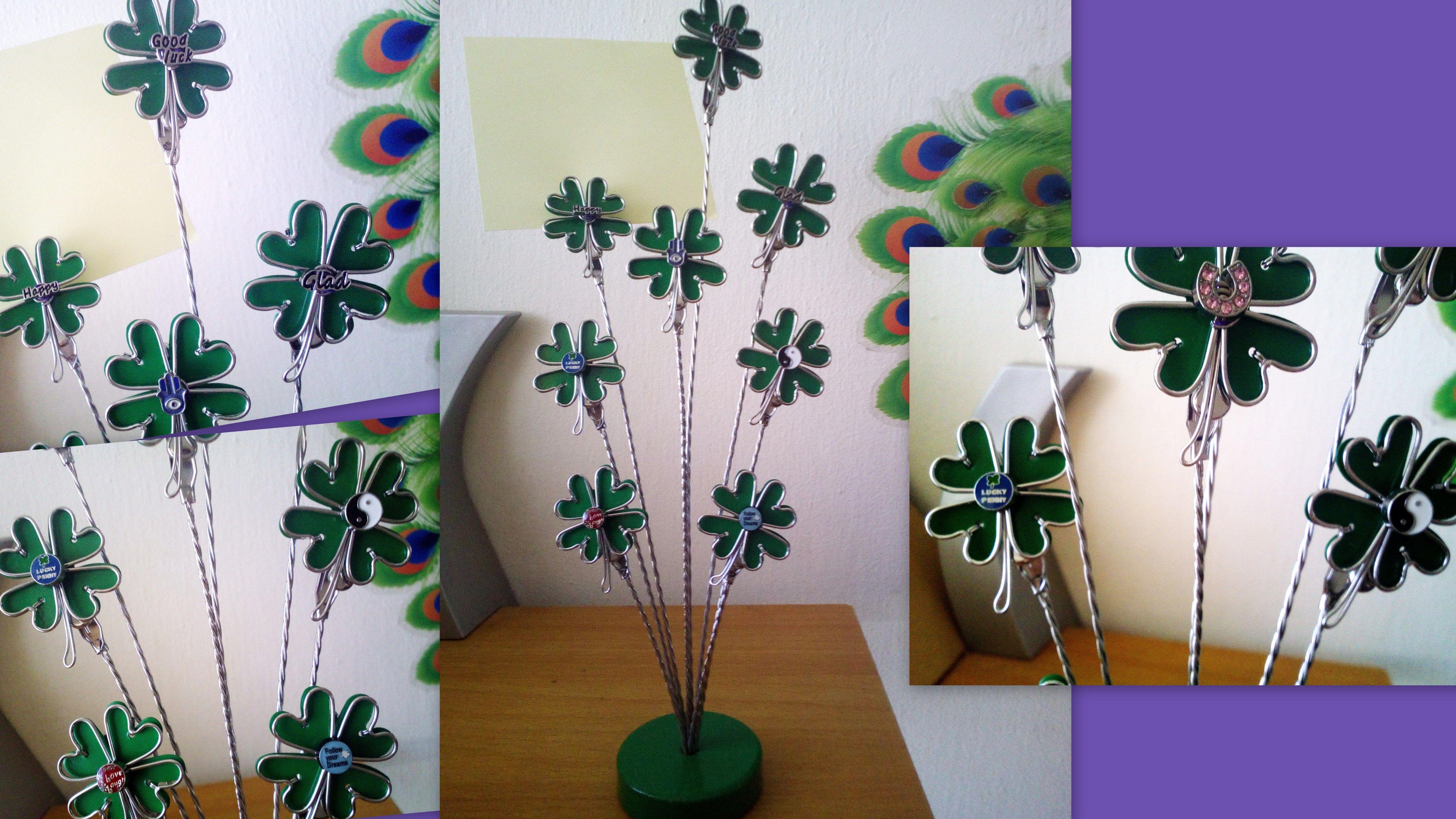 Positive Vibes 8 Clip Clover Lucky Penny Yin Yang Glad Happy Good Luck Hamsa/Horseshoe Dream Charm Memo Note Clip Birthday Home Office Decor
