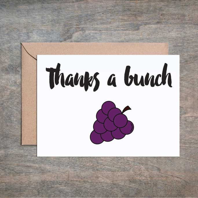 Thanks A Bunch Funny Thank You card Funny Friend Card Thank You - thank you note to friend