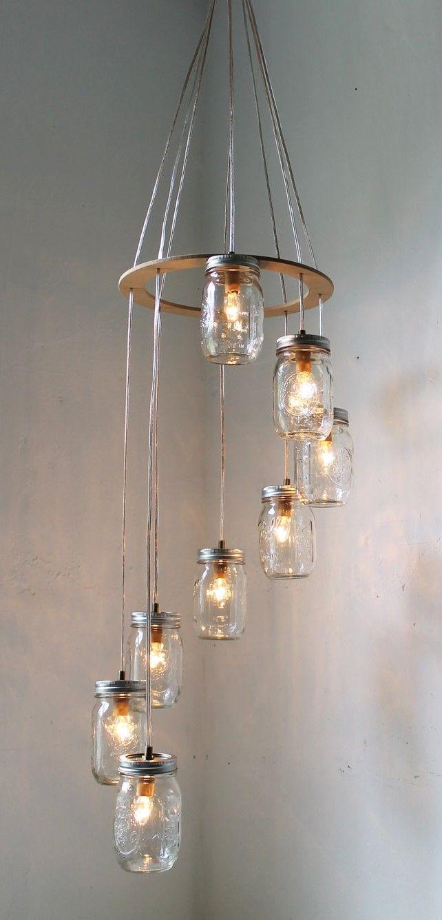 Spiral Mason Jar Chandelier Rustic Hanging Pendant Lighting Fixture & Spiral Mason Jar Chandelier Rustic Hanging Pendant Lighting ... azcodes.com