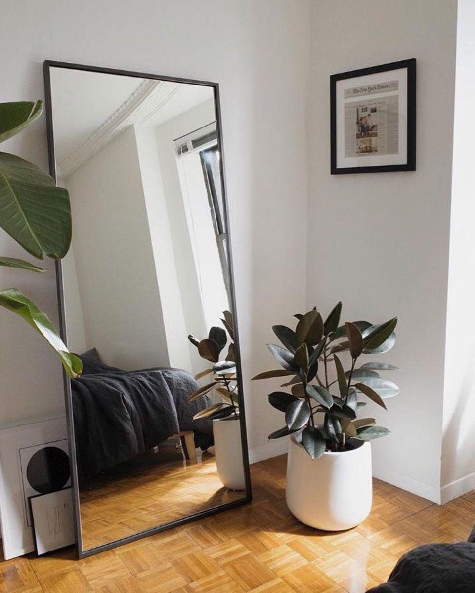 Full Length Mirror In Minimalist Scandinavian Style Living Room Decor Inspo In 2020 Room Design Bedroom Bedroom Renovation Full Length Mirror In Bedroom