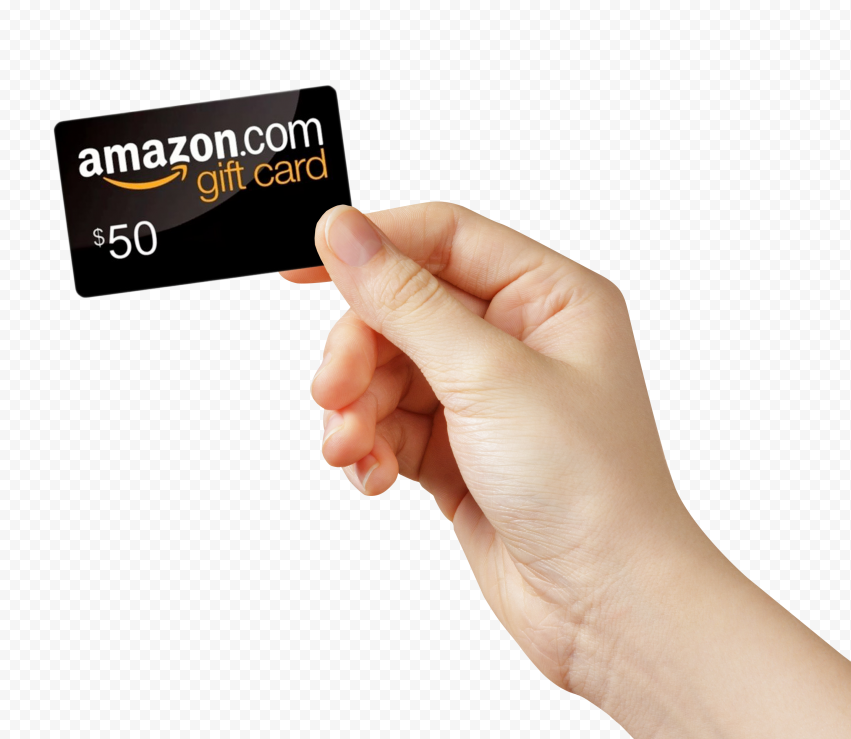 Woman Hand Hold Amazon 50 Gift Card Gift Card 50th Gifts Cards