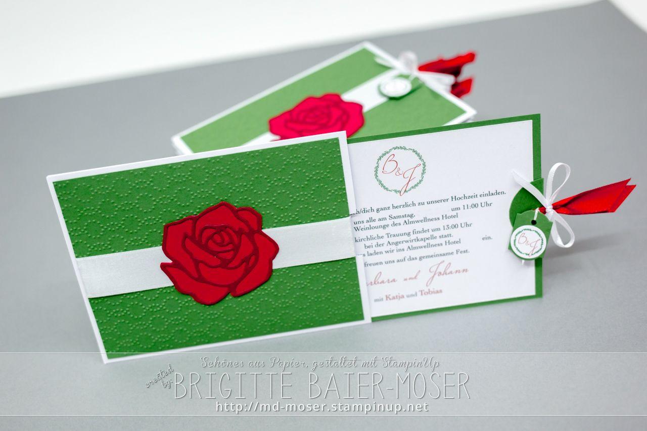 Hochzeitseinladungen mit Rose. Hergestellt von Brigitte Baier-Moser mit Stampin'Up!