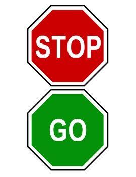 Red green stop and go classroom bathroom door hanger sign for Bathroom signs for classroom