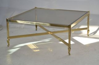 Labarge Square Brass Coffee Cocktail Table Glass Top Hollywood