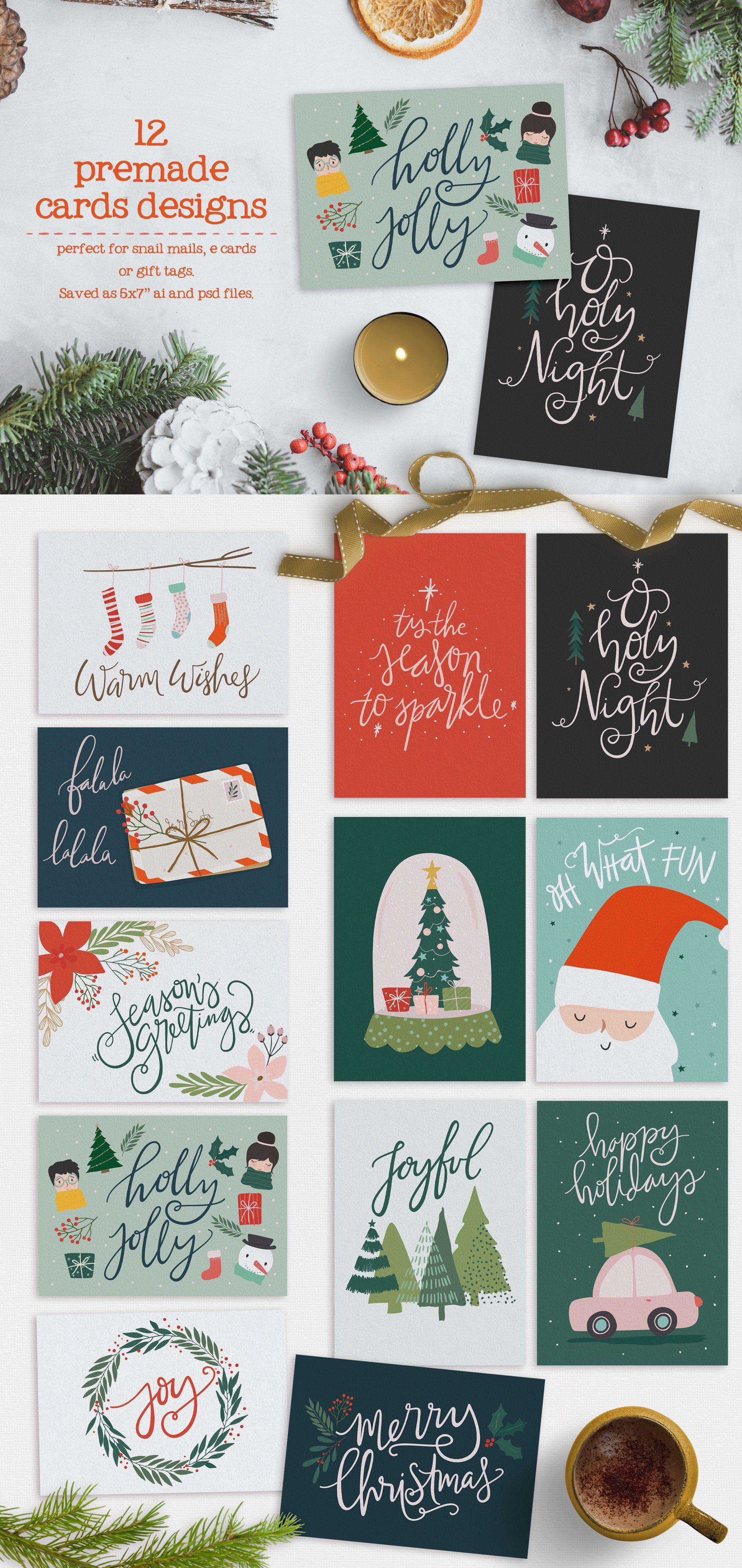 Merry Little Christmas Collection By 7th Avenue Designs On Creativemarket Merry Little Christmas Christmas Card Template Little Christmas