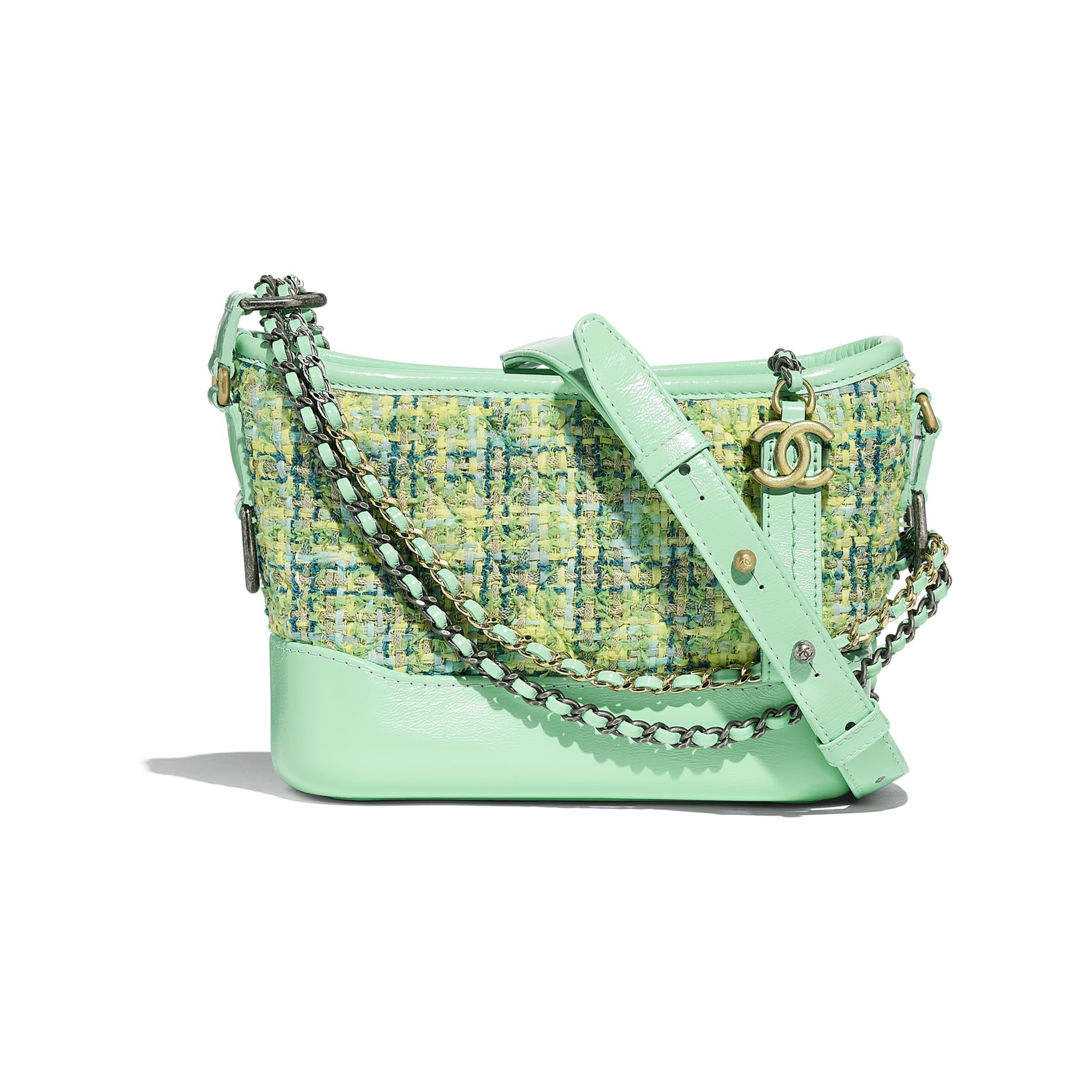 d7a93383d3 Chanel - PRE SS2019 | Green tweed, calfskin gold-tone & silver-