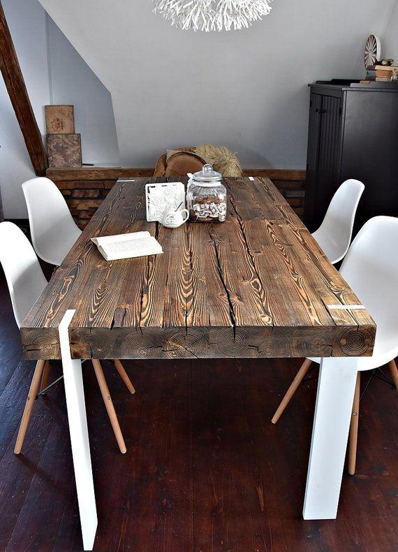 Tavolo Legno Grezzo Moderno.Solido 6 Posti In Stile Casale Recuperato Legno Tavolo Da