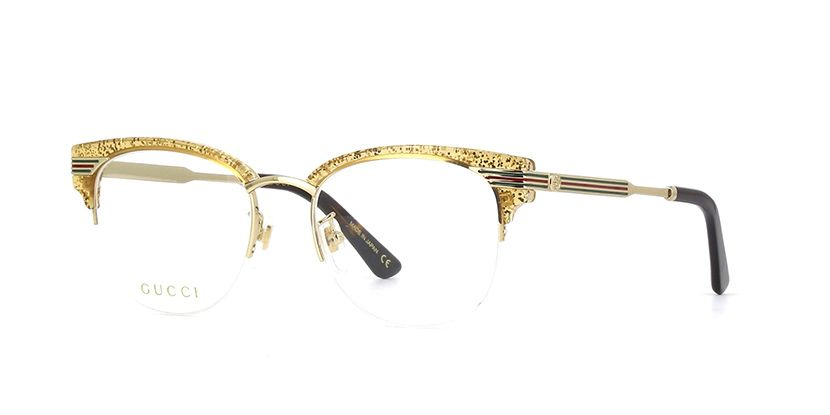 828191c269bc Gucci GG0201O 004 Crystal with Gold Glitter and Gold Glasses