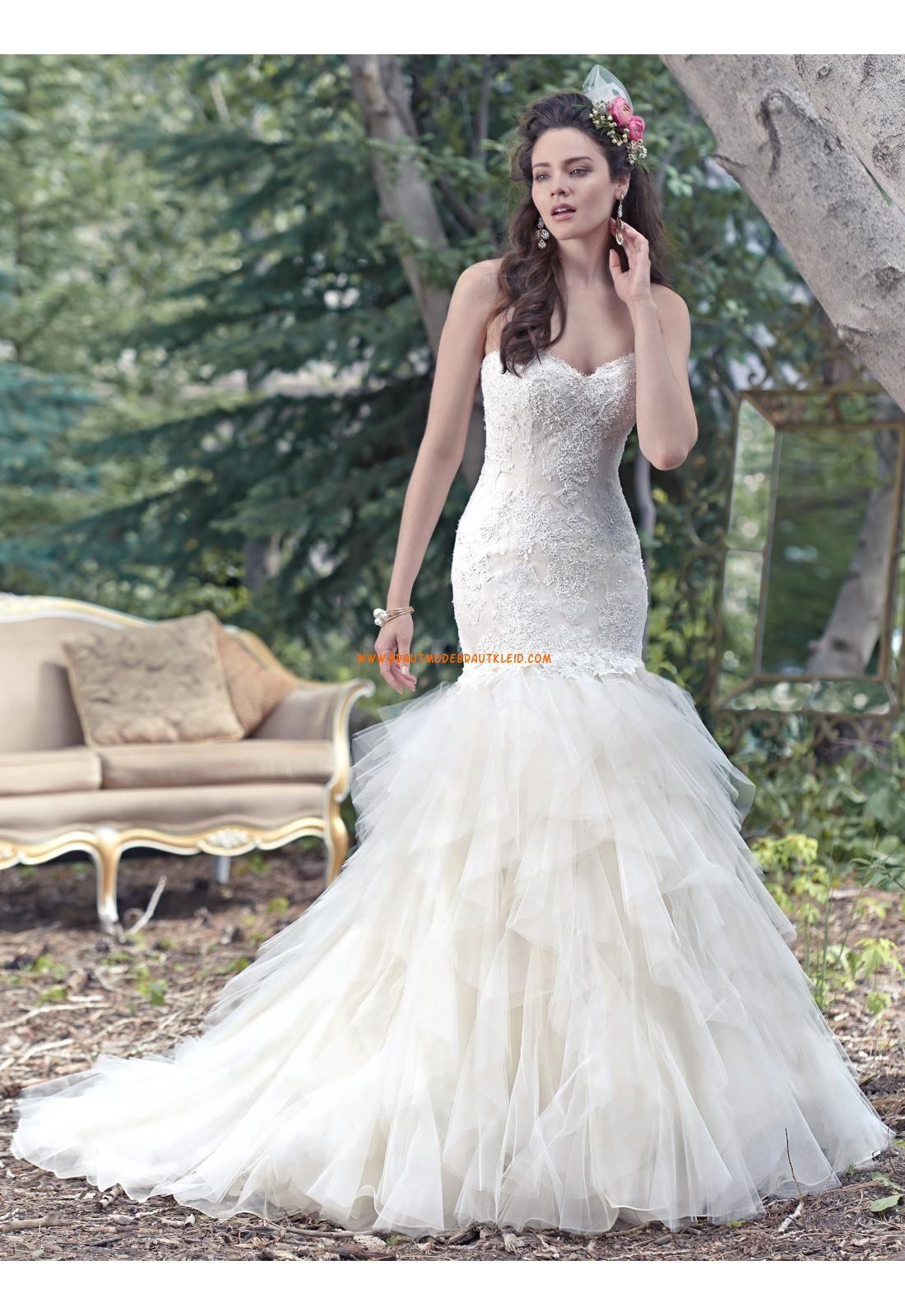 Meerjungfrau Herz-ausschnitt Romantische Brautkleider aus Organza ...