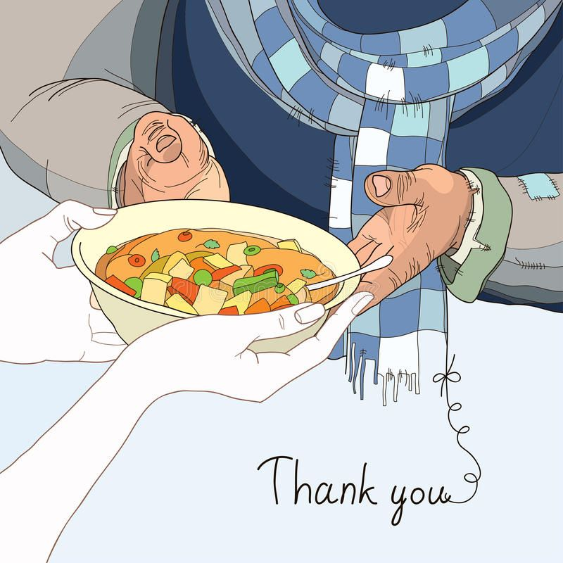 Volunteer Giving Plate Of Food To The Homeless In Worn Clothes Affiliate Plate Giving Volunteer Food Giving Plate Clothes Illustration Food Clothes