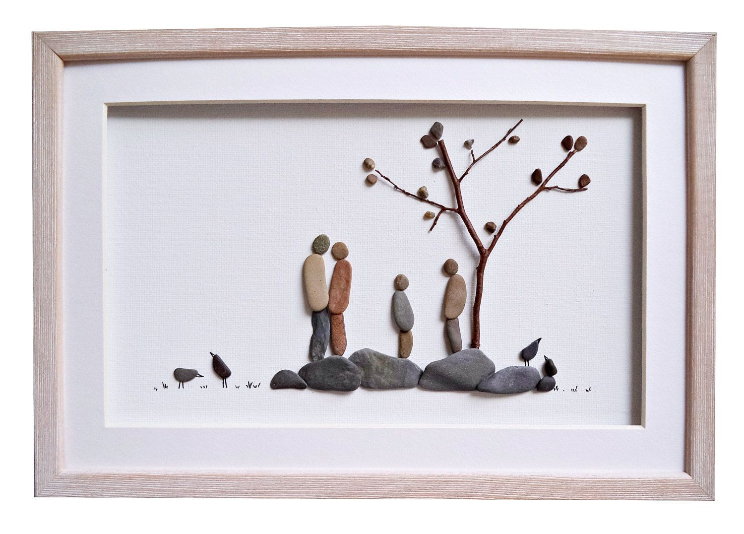 Pebble art family of five, Woodland nursery decor, Anniversary gift ...