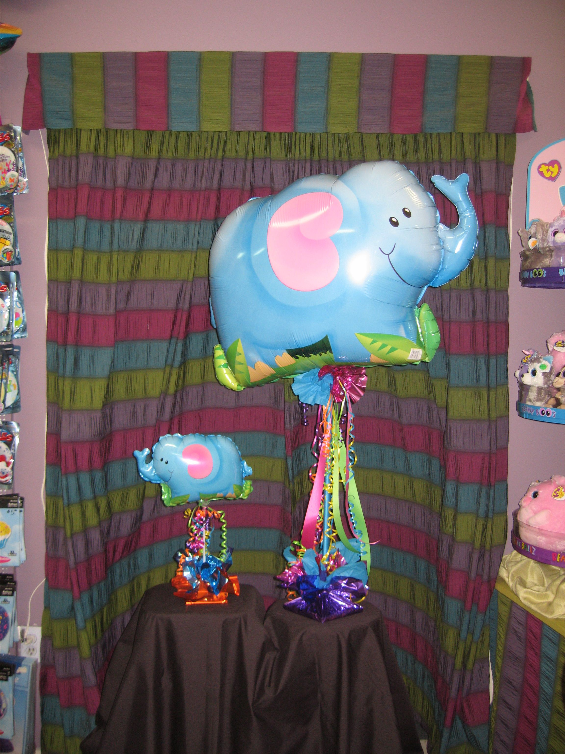 Elephant balloon centerpieces great for a jungle or
