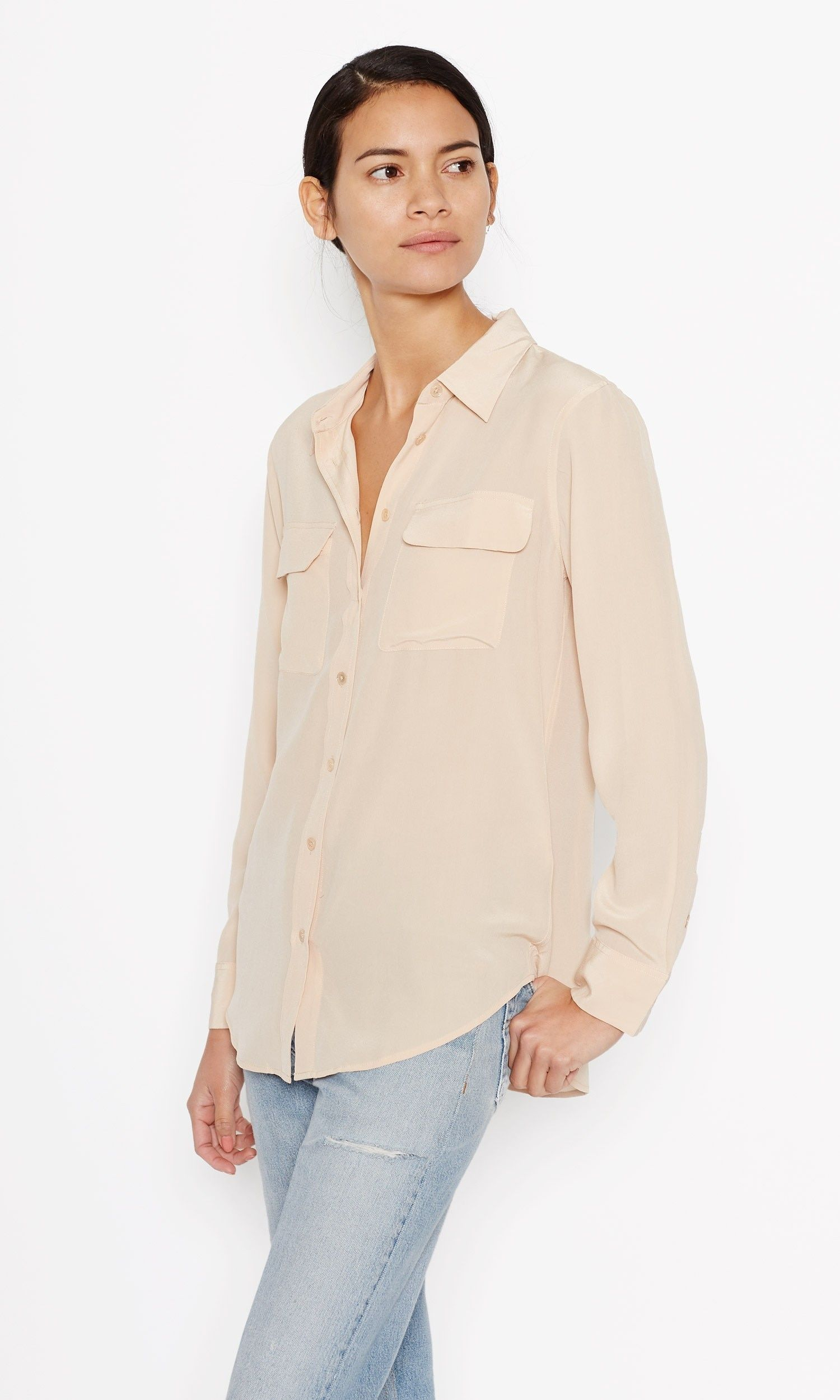 917e7af2431ec Equipment SLIM SIGNATURE SILK SHIRT French Nude