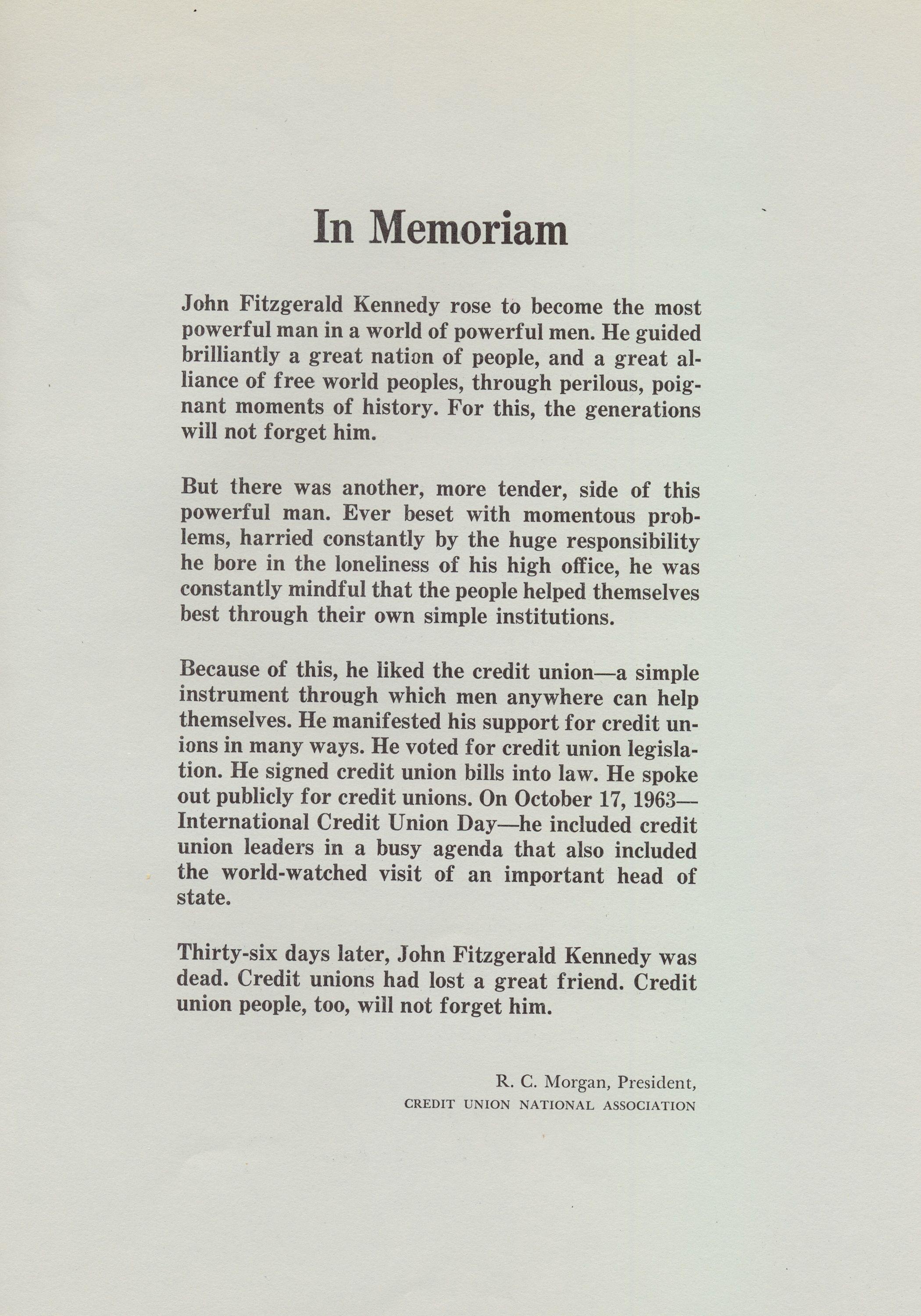 In Memoriam - John F. Kennedy (In Memoriam, page 2), Credit Union Magazine, December 1963.