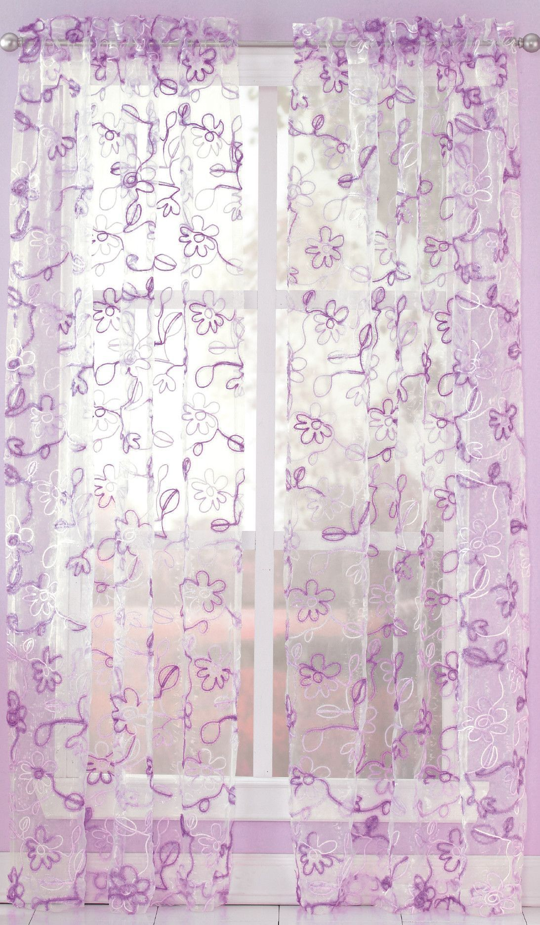 Ribbon Trim Curtains Ribbon Trim Nature Floral Sheer Rod Pocket Single Curtain Panel