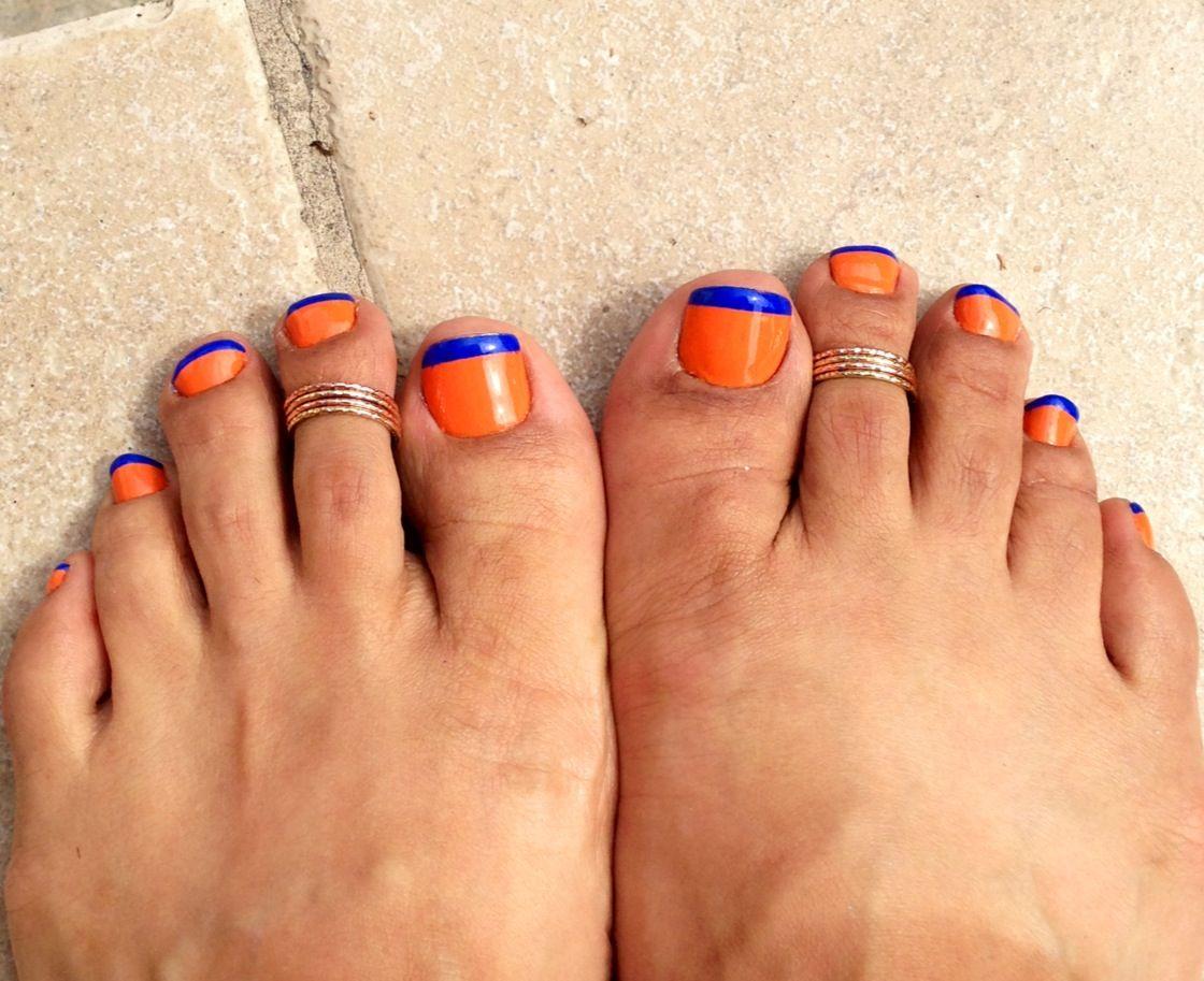 Nail art, orange with blue tips toe nails, Florida Gators
