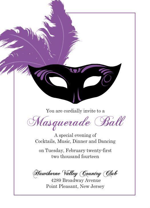 Flashy Purple Mask Mardi Gras Invitation By PurpleTrailcom - Masquerade party invitations templates free