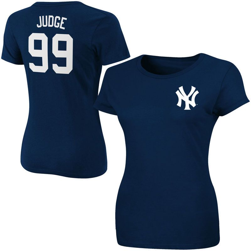 Aaron Judge New York Yankees Majestic Women S Official Name Number T Shirt Navy New York Yankees Basketball Clothes New York Yankees Game