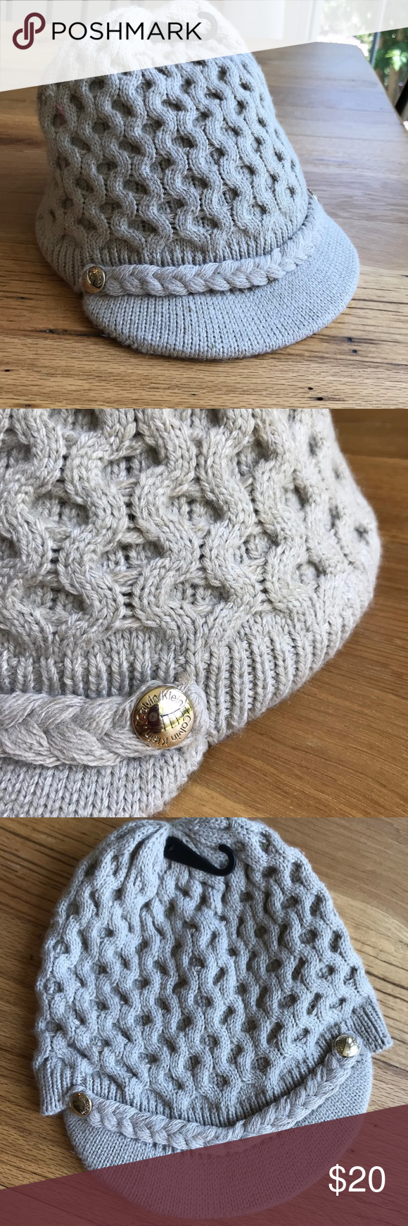 fbe3351aca0 Calvin Klein cable knit hat with visor. Wool blend. Light tan. Gold button.  Machine wash cold. Very cute and versatile! Calvin Klein Accessories Hats.  NWOT!