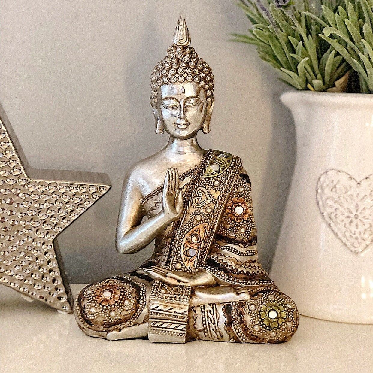 Small Sitting Antique Silver Thai Buddha Ornament Figurine Statue Sculpture Gift Buddha Statue Decor Buddha Decor Buddha Home Decor