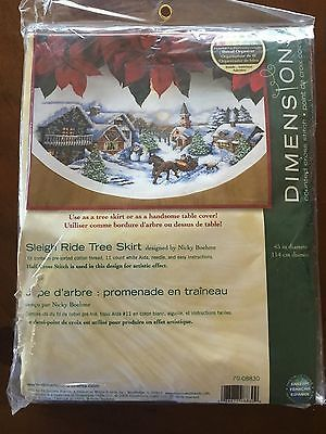 Dimensions 70-08830 70-08830 Needlecrafts Counted Cross Stitch Sleigh Ride Tree Skirt