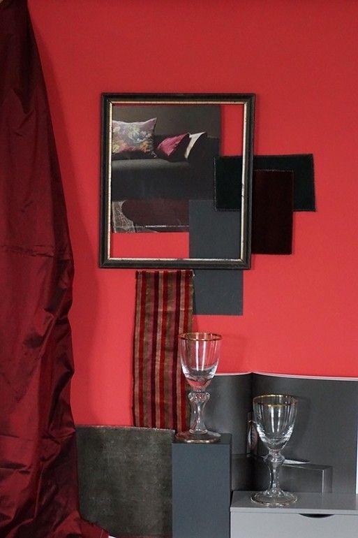 Oh La La 172 - Kreideemulsion - Kreidefarbe - pink-rote Wand und - wohnzimmer grau magenta