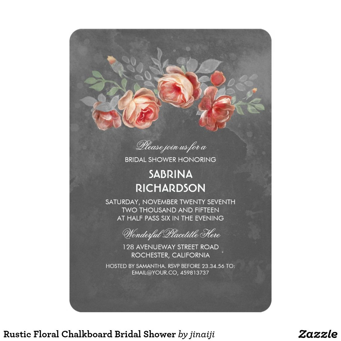 Rustic Floral Chalkboard Bridal Shower Card  Chalkboard Bridal