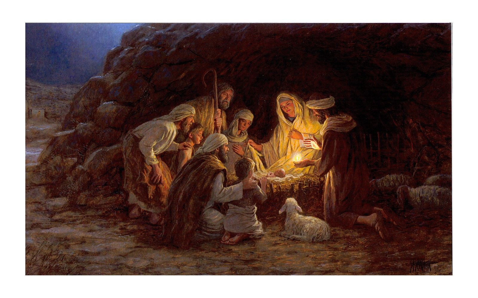 Julekortsmotivet Har Titlen Nativity Jesu Dsel