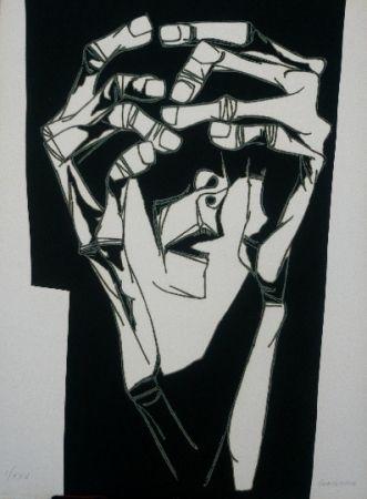 Incisione - Oswaldo Guayasamin - Las manos del terror variante