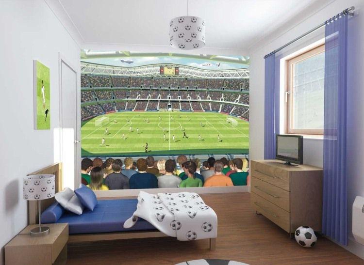 Kinderzimmer junge wandgestaltung dschungel  Fototapete für abwechslungsreiche Wandgestaltung mit Thema Fußball ...