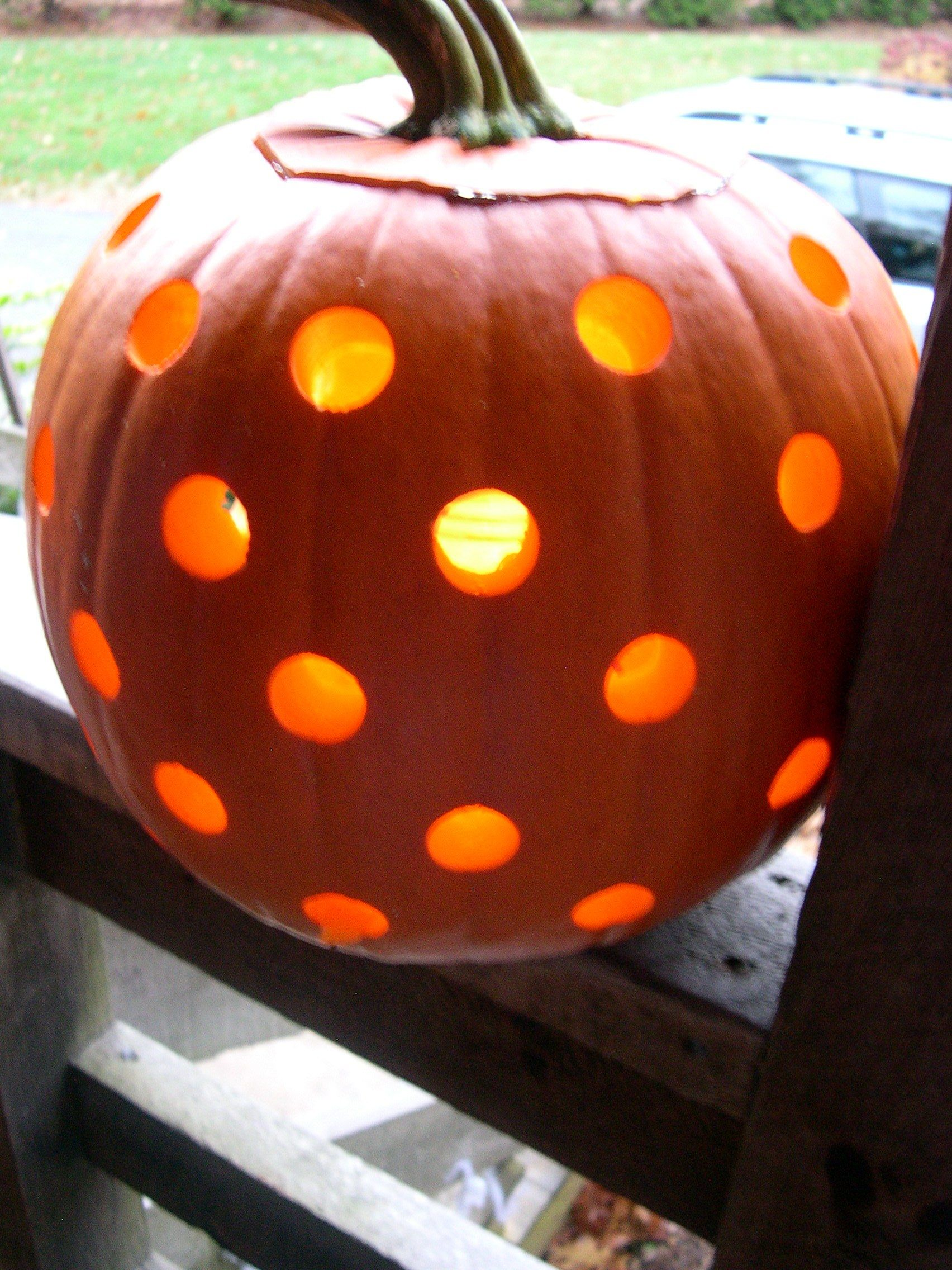Easy to do with a power drill polka dot pumpkin