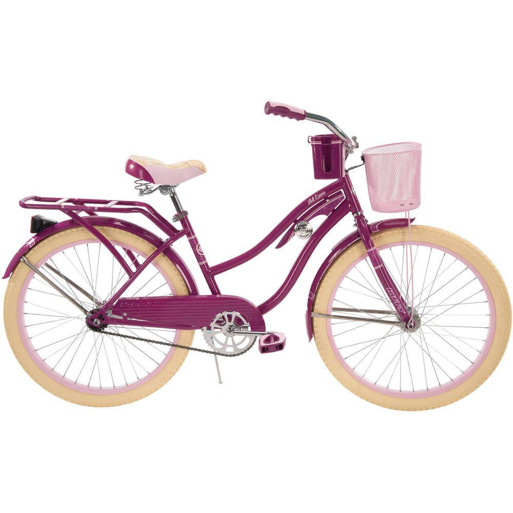 Womens beach cruiser bike 24 bicycle ladies 1 speed vintage basket rack pink