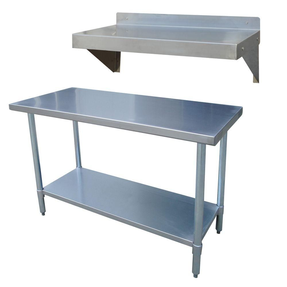 Sportsman Stainless Steel Kitchen Utility Table With Work Shelf Sswset The Home Depot Kitchen Work Tables Stainless Steel Work Table Stainless Steel Kitchen Table