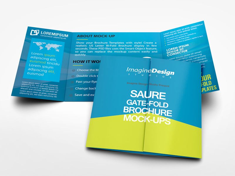 Square Gate Fold Brochure Mockup Mockup Brochures And Booklet Design
