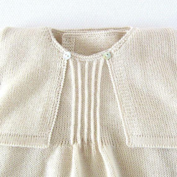 Knitted Christening Gown in pearl. Dress coatee cap by tenderblue ...