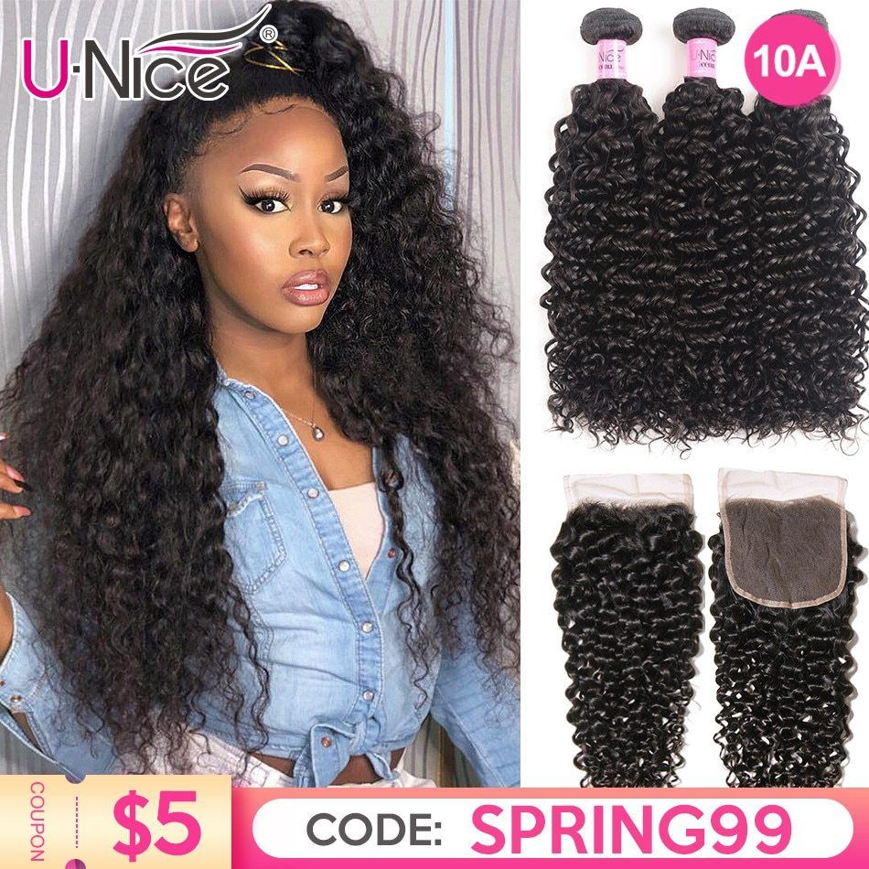 Unice Hair Curly Weave Human Hair With Closure 4 5pcs Brazilian Remy Hair Weave Bundles With Closure Lace Hair Diy Wigs By You In 2020 Weave Hairstyles Remy Hair Weave Diy Wig